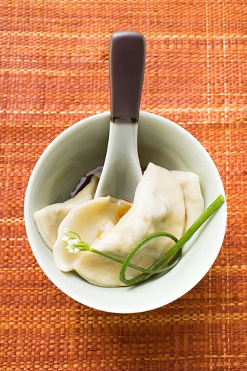 Stock Photo: 1532R-9536 Wontons with soy sauce