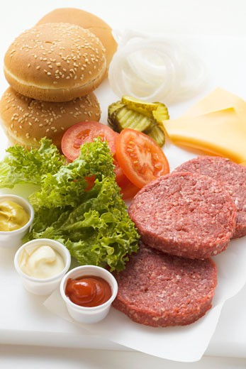 Ingredients for cheeseburgers : Stock Photo