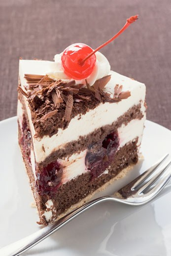 Stock Photo: 1532R-9770 Piece of Black Forest gateau with cherry
