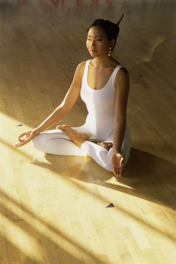 Stock Photo: 1535-130 High angle view of a young woman meditating