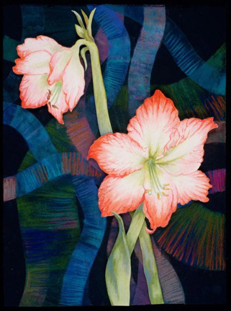 Two Amaryllis  2000 Helene Baker (20th C. American) Pastel : Stock Photo