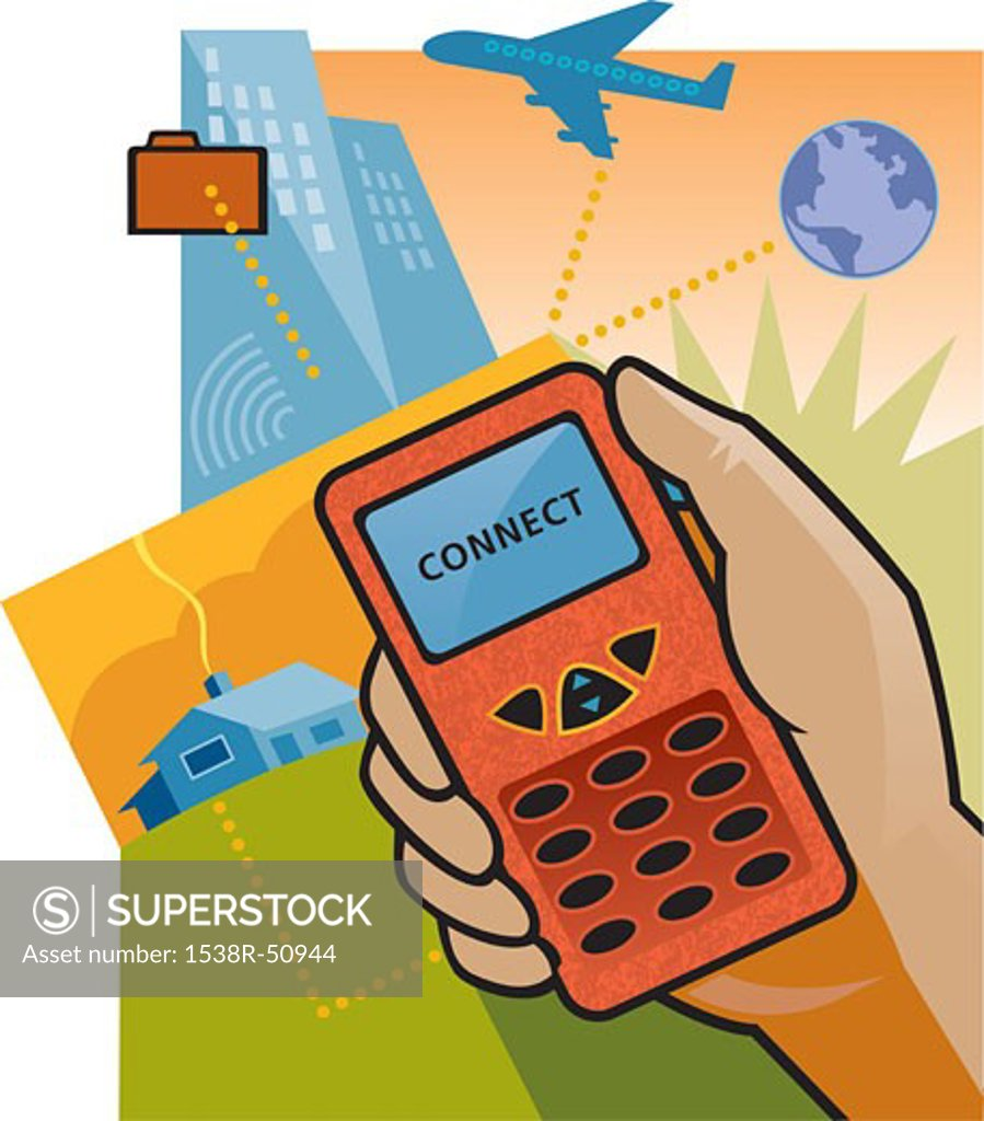 Stock Photo: 1538R-50944 Connecting to the internet via cell phone