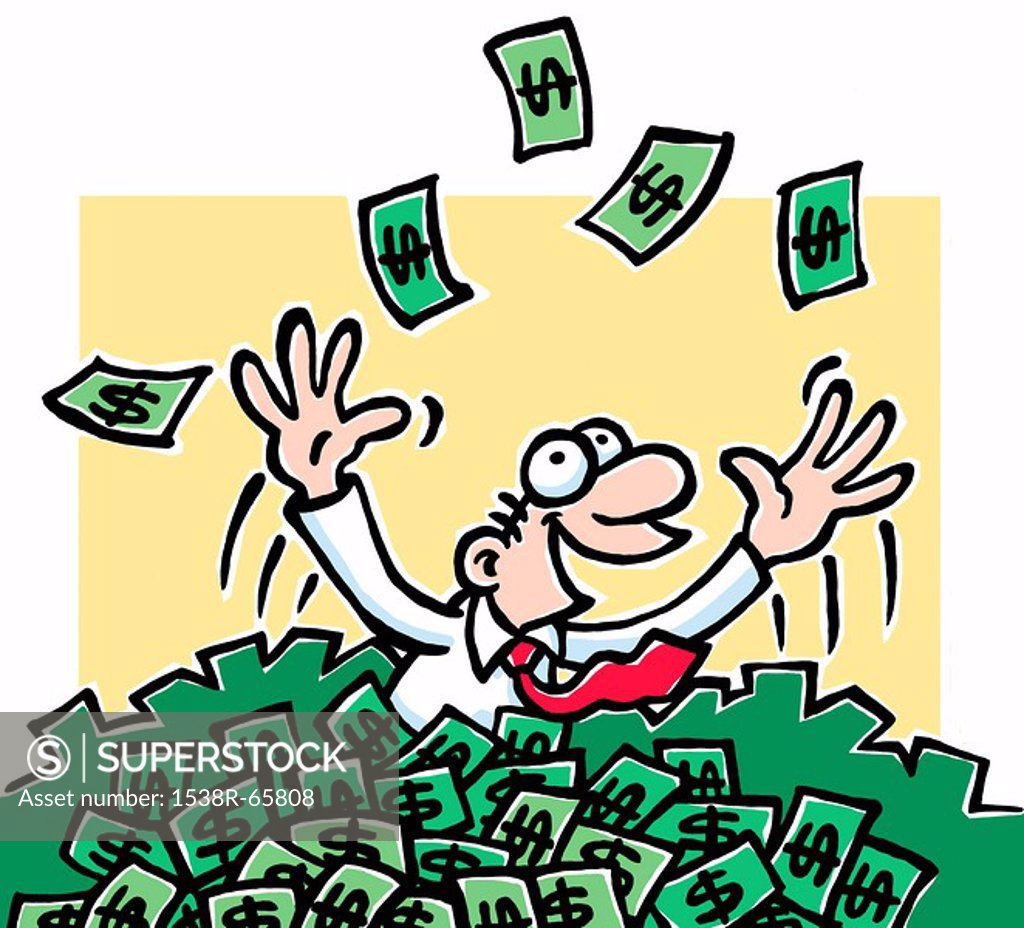Stock Photo: 1538R-65808 A cartoon drawing of a man immersed in money throwing it above his head