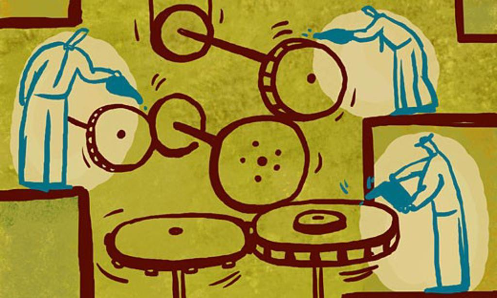 Stock Photo: 1538R-46310 Illustration of men oiling gears