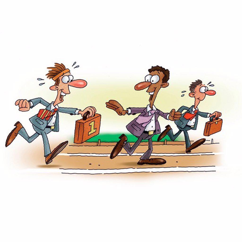 An illustration of a businessman baton race : Stock Photo