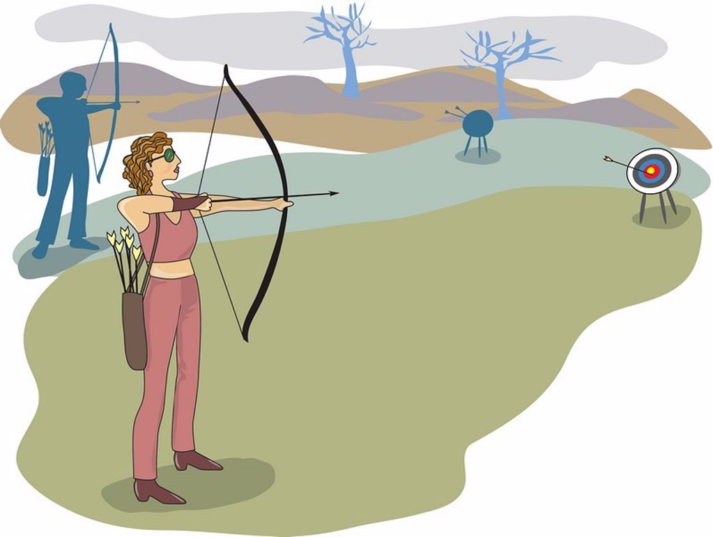 A woman displaying her skills at archery : Stock Photo