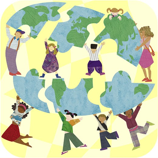 Stock Photo: 1538R-47178 Multicultural people putting together a puzzle of the earth