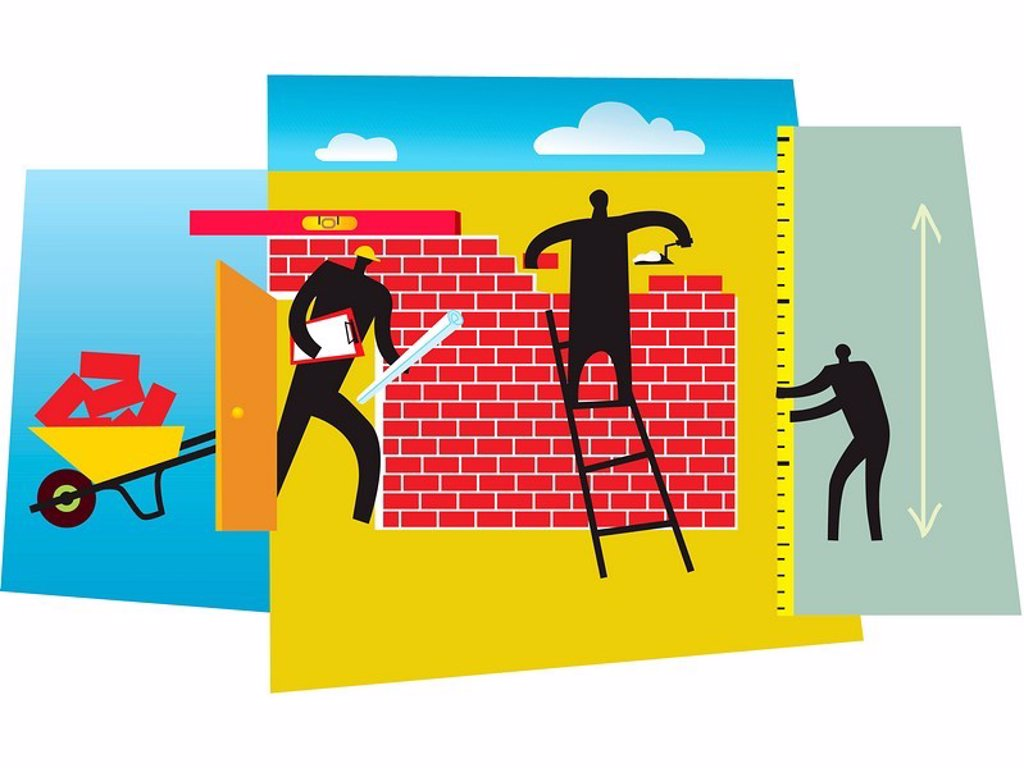 Stock Photo: 1538R-48634 People building a brick wall