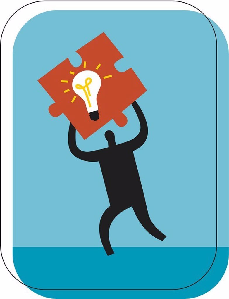 Stock Photo: 1538R-48695 Man holding a puzzle piece with a light bulb on it