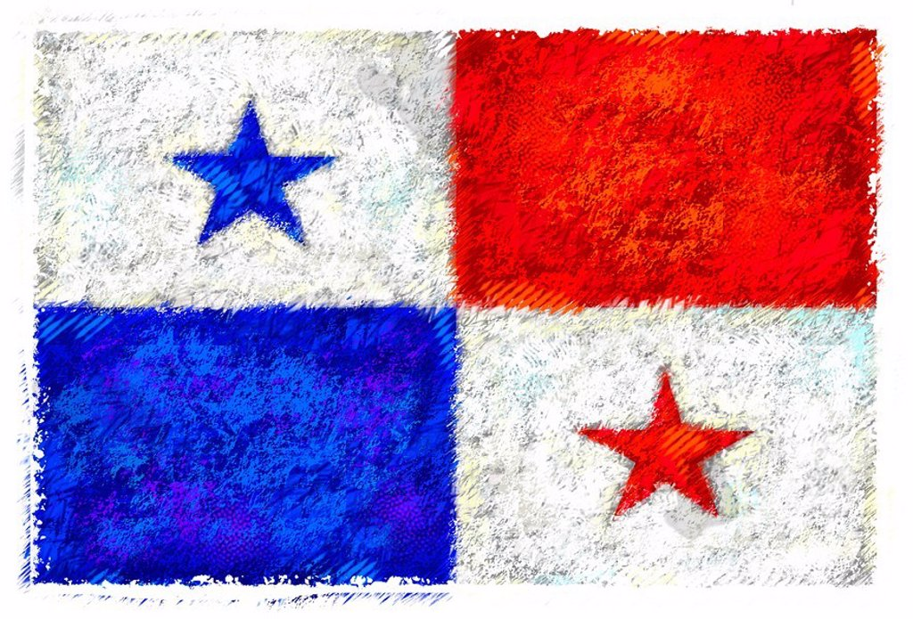 Stock Photo: 1538R-48902 Drawing of the flag of Panama