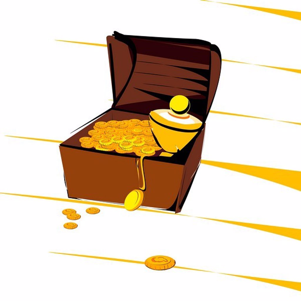 An illustration of a treasure chest full of gold : Stock Photo