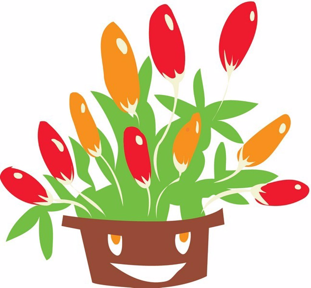 A drawing of tulips : Stock Photo
