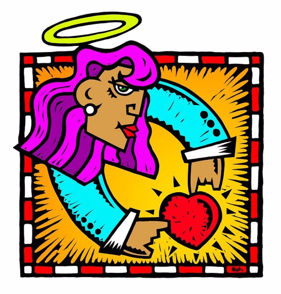 A drawing of an angel holding a heart : Stock Photo