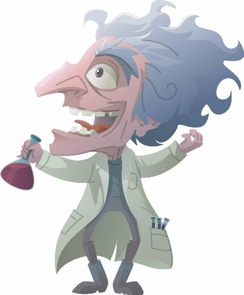 Stock Photo: 1538R-49374 Portrait of a mad scientist