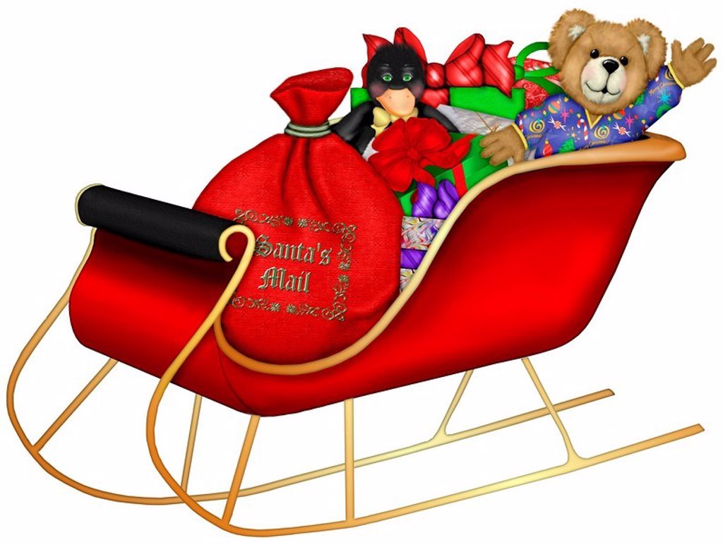Santa's sleigh full of gifts for children during the holiday season : Stock Photo