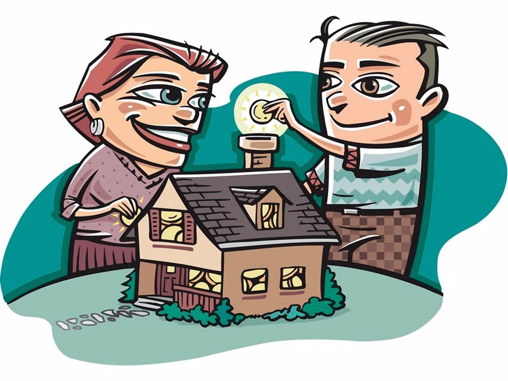 A happy couple putting money into a model house : Stock Photo