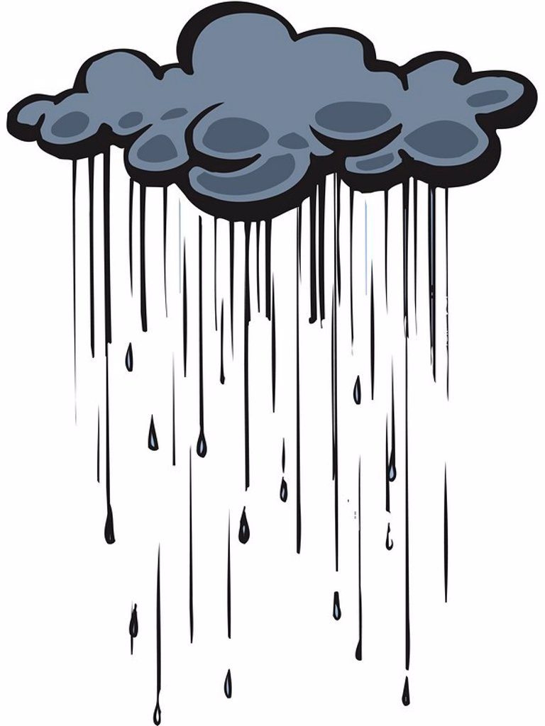 Stock Photo: 1538R-49951 Drawing of a rain cloud