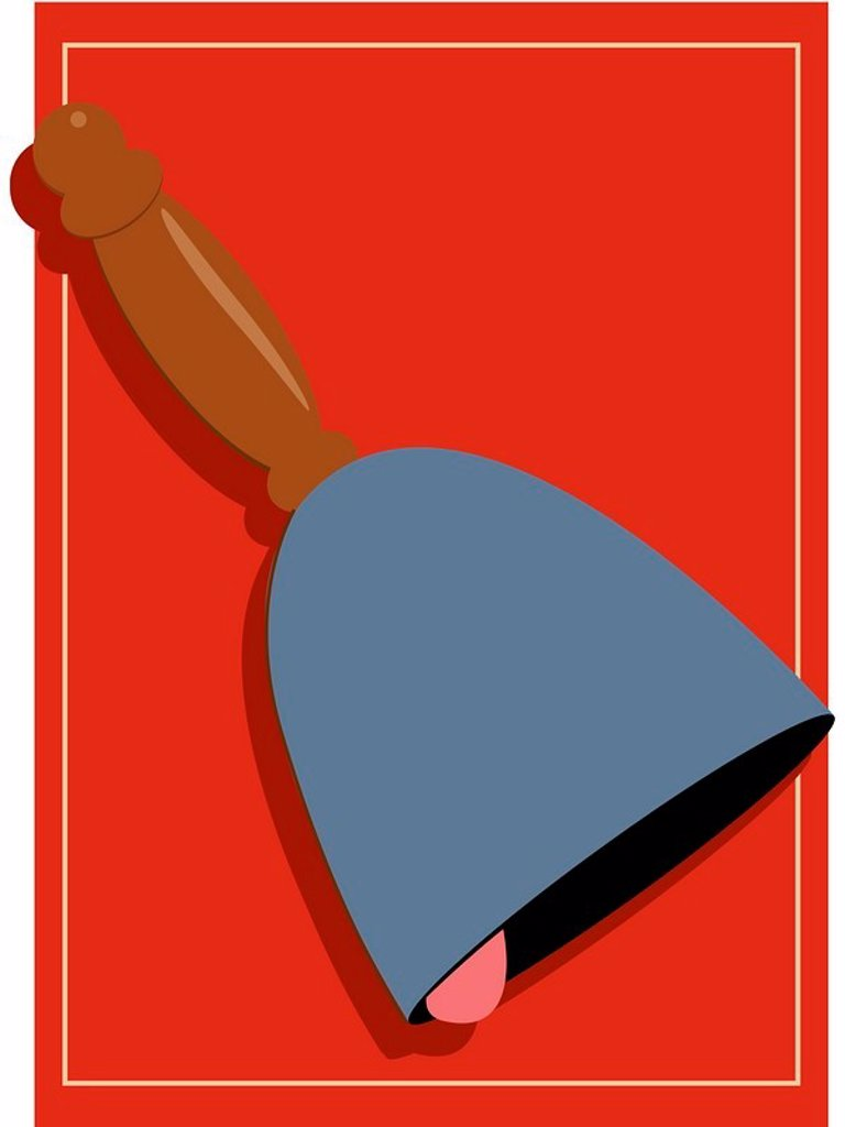A pictorial illustration of a bell on a red background : Stock Photo
