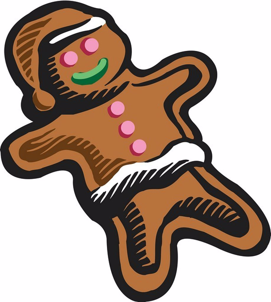 Stock Photo: 1538R-50073 Drawing of a gingerbread man