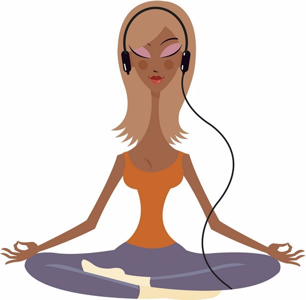 A woman with a headphone meditating in the lotus position : Stock Photo