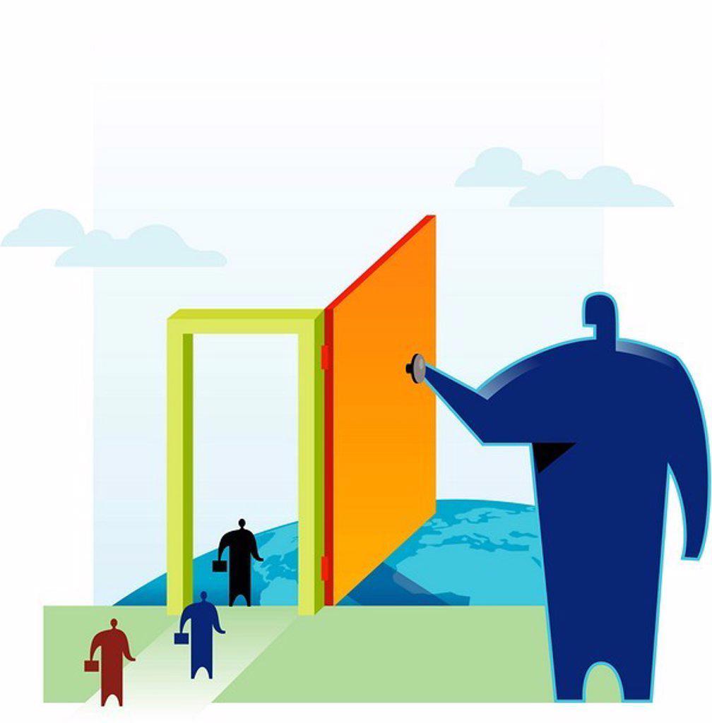 Stock Photo: 1538R-50460 Businessmen walking through the door of opportunity being held open by another huge man