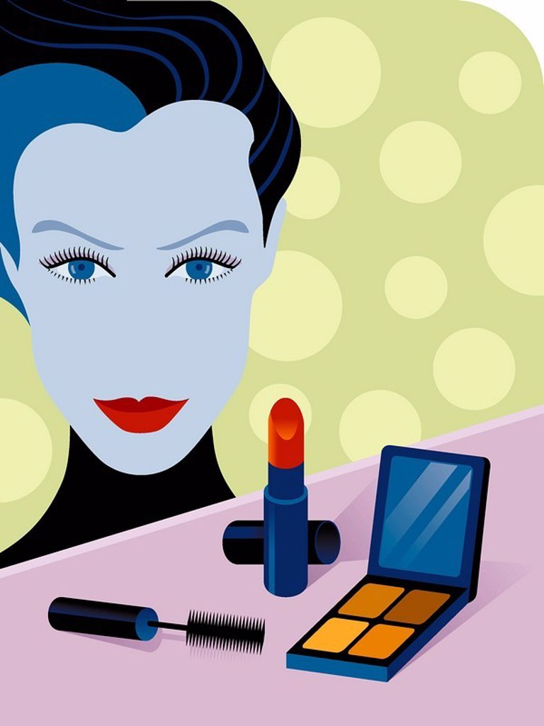 Stock Photo: 1538R-50868 An illustration of a makeup artist