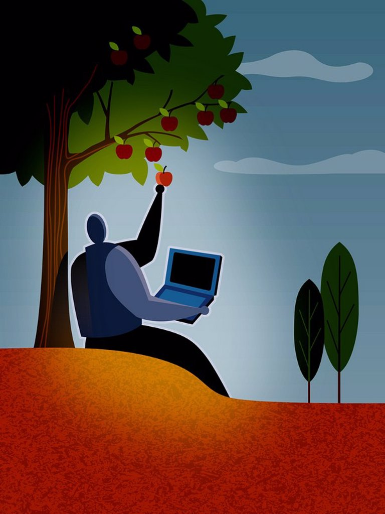 A businessman picking apples from a tree : Stock Photo