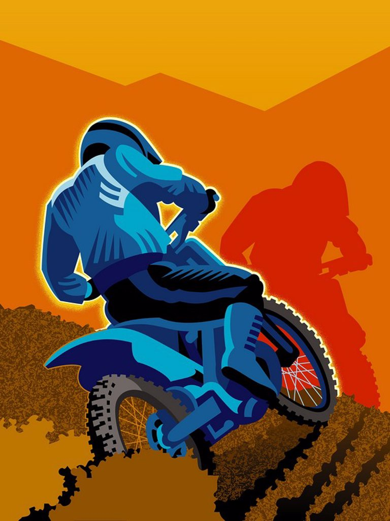 An off-road dirt biking : Stock Photo