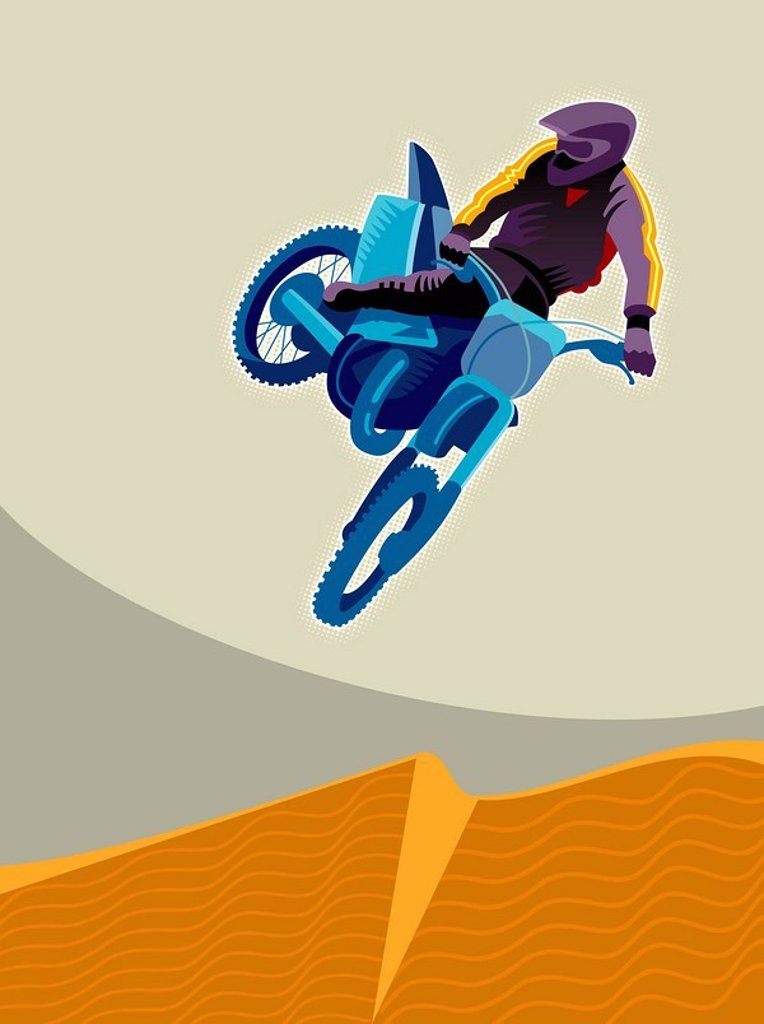 Stock Photo: 1538R-51012 A man dirt biking