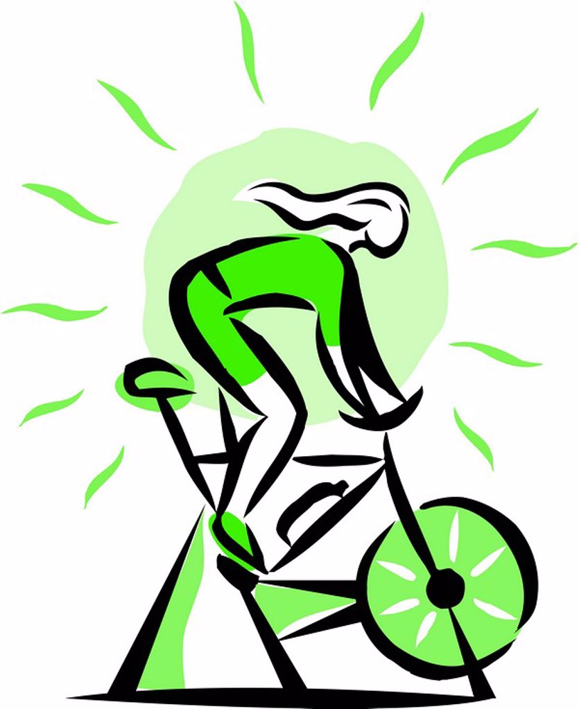 Stock Photo: 1538R-51063 woman on a stationary bike
