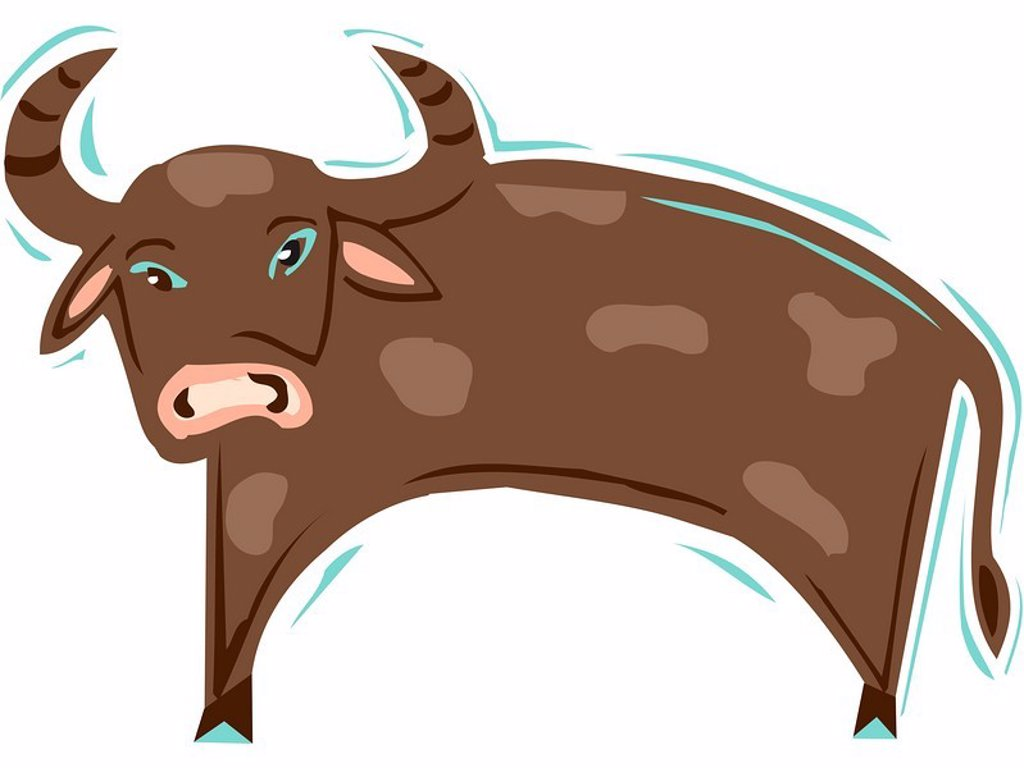 Stock Photo: 1538R-51198 Illustration of a brown ox
