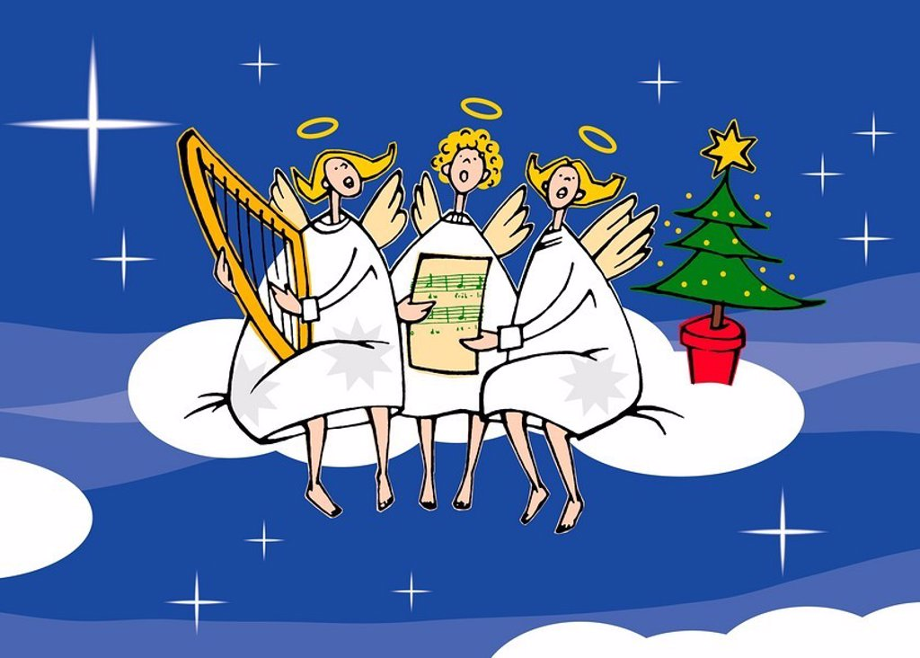 angels singing on a cloud : Stock Photo