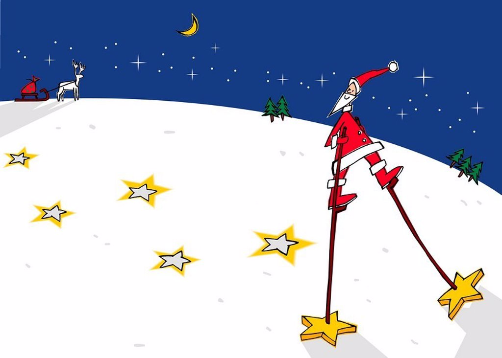 Stock Photo: 1538R-51328 santa on stilts