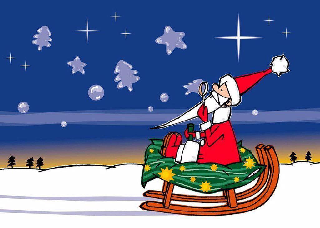 Stock Photo: 1538R-51329 santa on a sleigh
