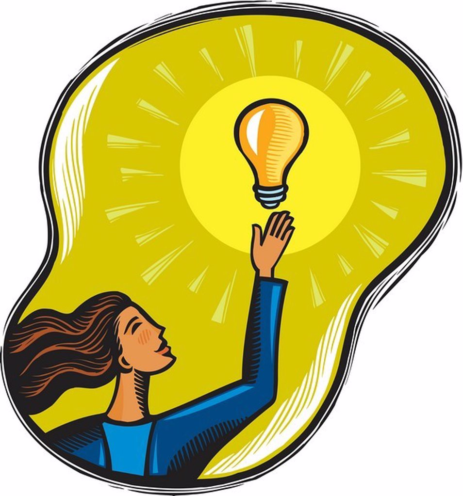 Businesswoman reaching for an idea : Stock Photo