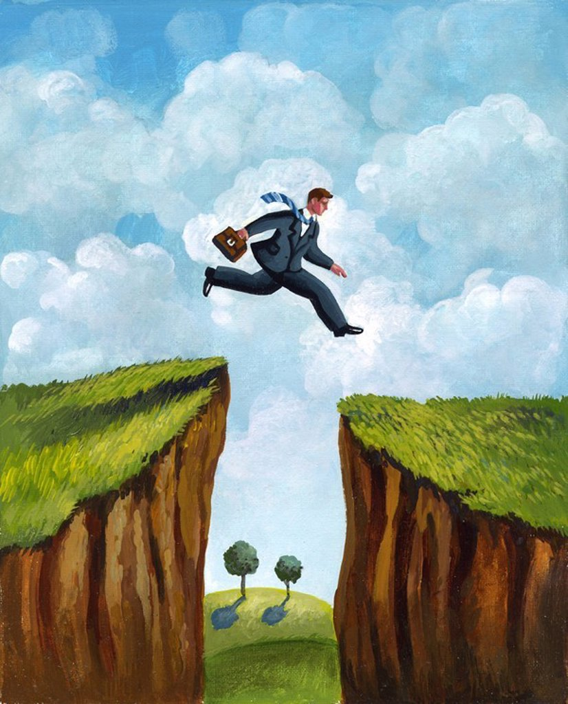 A picture of a businessman running across two cliffs : Stock Photo