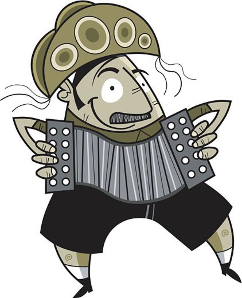 Stock Photo: 1538R-52032 A man playing an accordian