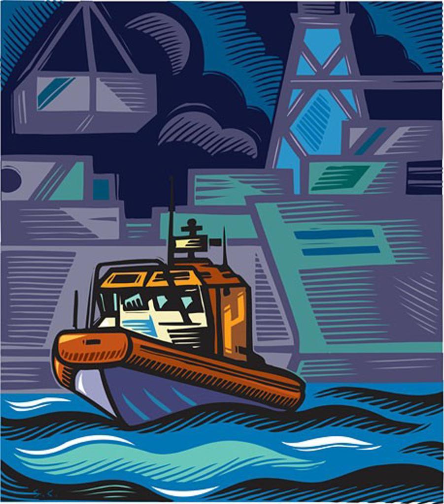 A coast guard boat near an industrial shoreline : Stock Photo