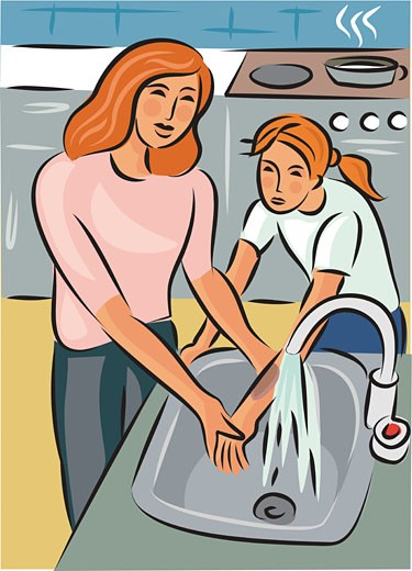 Mother holding daughters burnt arm under cold water, with cooker in the background : Stock Photo