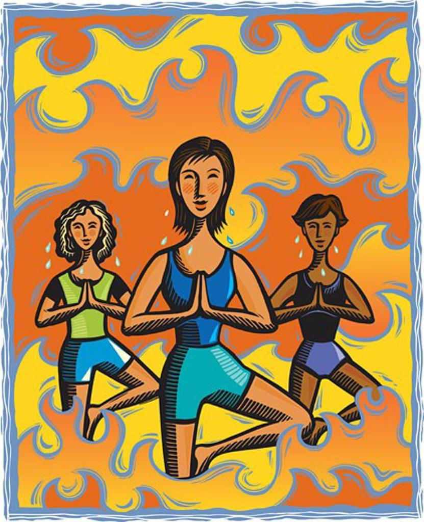 Stock Photo: 1538R-52896 Three women doing the tree yoga pose in a Bikram yoga class