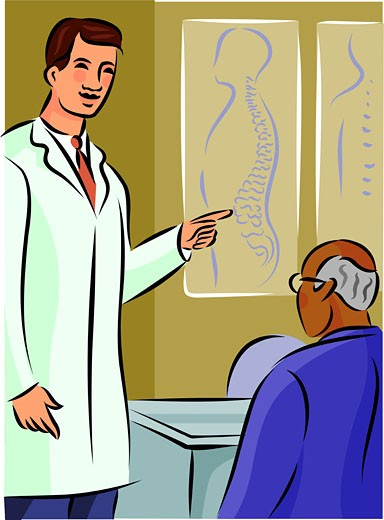 Doctor showing his patient a diagram of the spine : Stock Photo