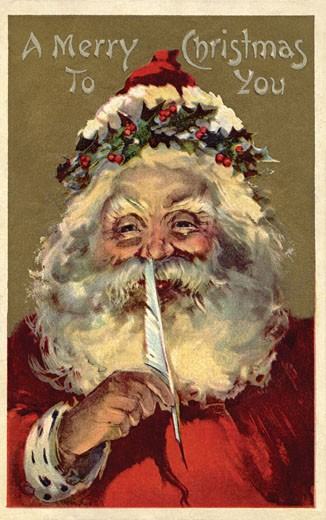 Stock Photo: 1538R-53032 Vintage Christmas postcard of Santa Claus holding a feather to his nose