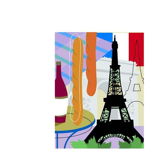 A collage of Paris with the Eiffel Tower, baguettes and red wine : Stock Photo
