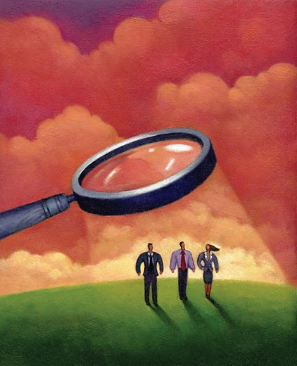 Illustration of three people standing underneath a magnifying glass : Stock Photo
