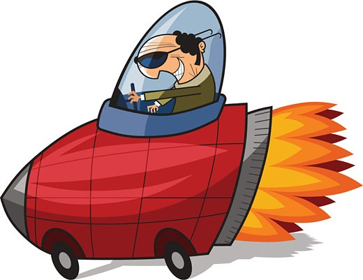 Illustration of a businessman steering a red rocket with flames coming out of it : Stock Photo