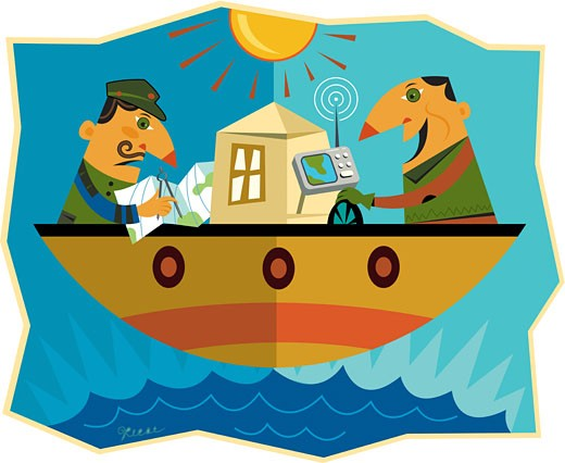 Stock Photo: 1538R-53631 Two men on opposite sides of a boat where one man is using a gps to navigate and the other is using a map
