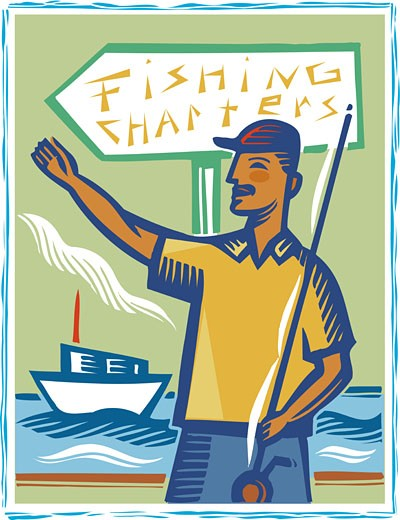 A man holding a fishing pole while standing infront of a fishing charters sign : Stock Photo