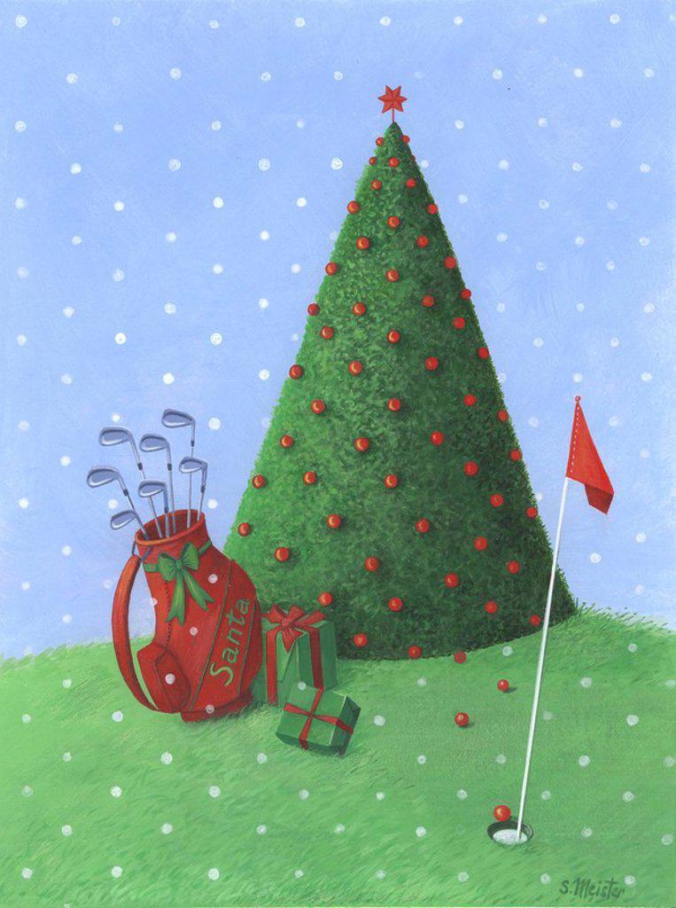 Golf christmas : Stock Photo