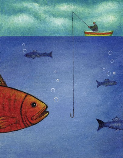 An illustration of a man fishing in a row boat with a large fish about to bite : Stock Photo