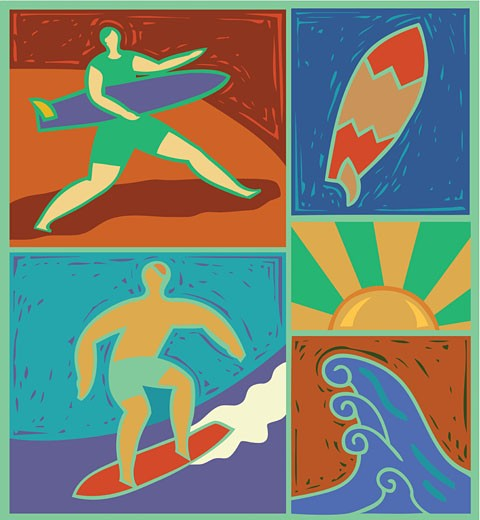 Stock Photo: 1538R-54073 Illustration of surfers